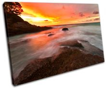 Waves Orange Sunset Seascape - 13-0177(00B)-SG32-LO